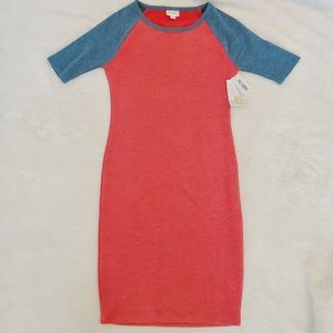 NWT LLR Julia Red & Blue Size XS Form Fitted Dress